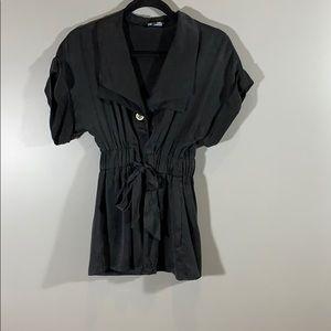 BEBE Button Down 100% Silk Tie Blouse Black Size 0